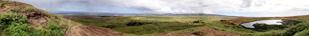 Panorama above Rano Raraku.  Notice the storm on the left that quickly blew over and soaked me
